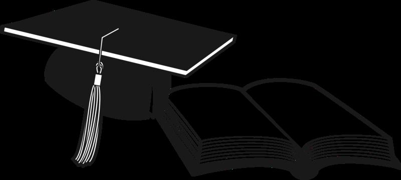 Graduation Cap and open book
