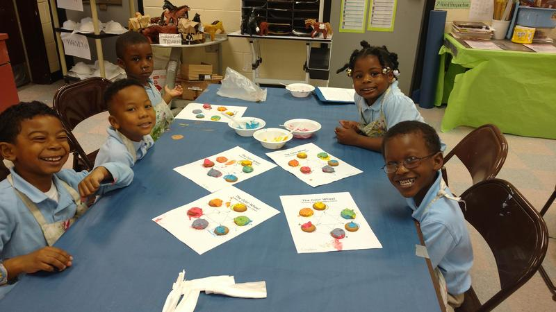 Pre-K students working on color wheels.