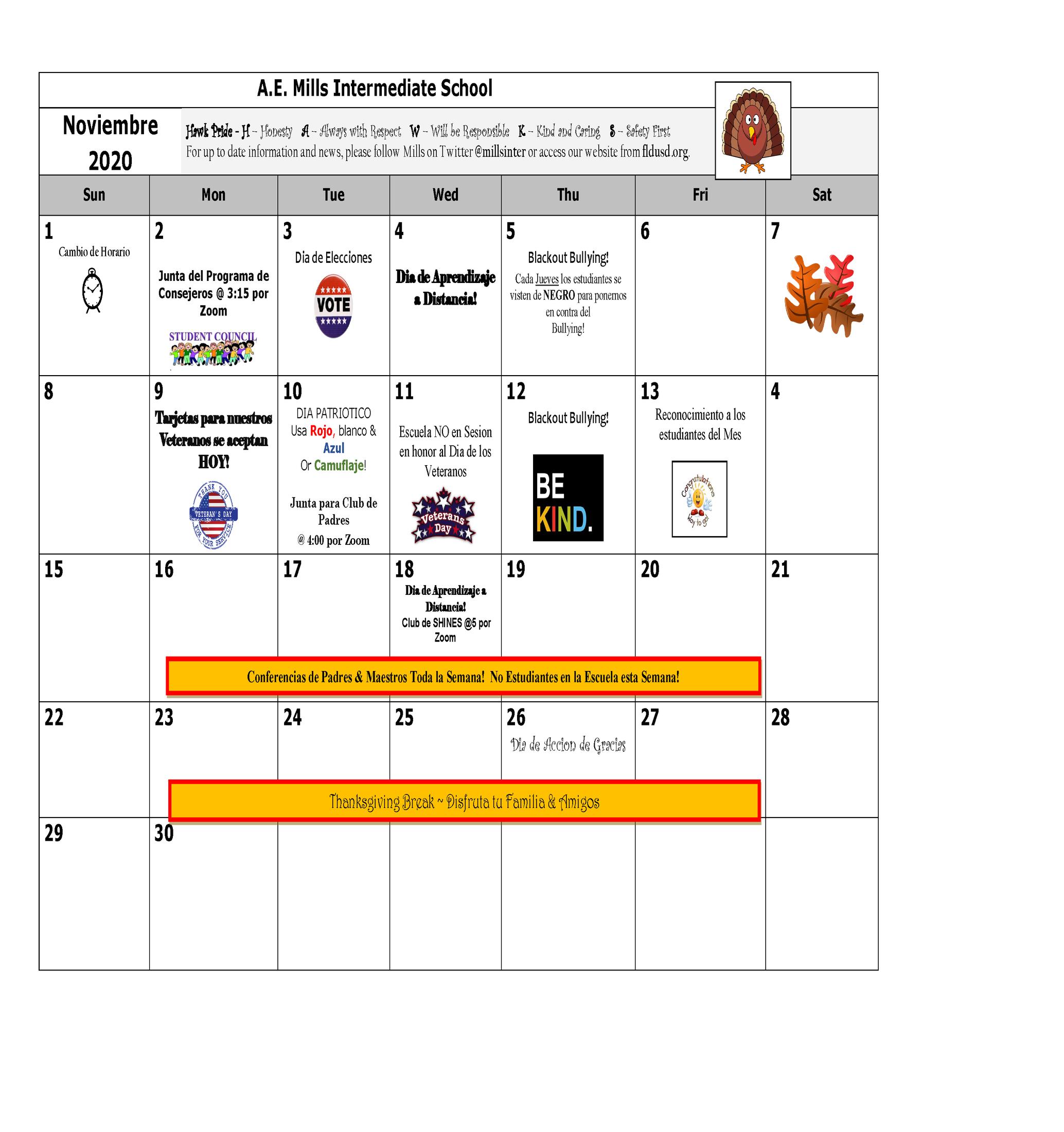 November Calendar Spanish