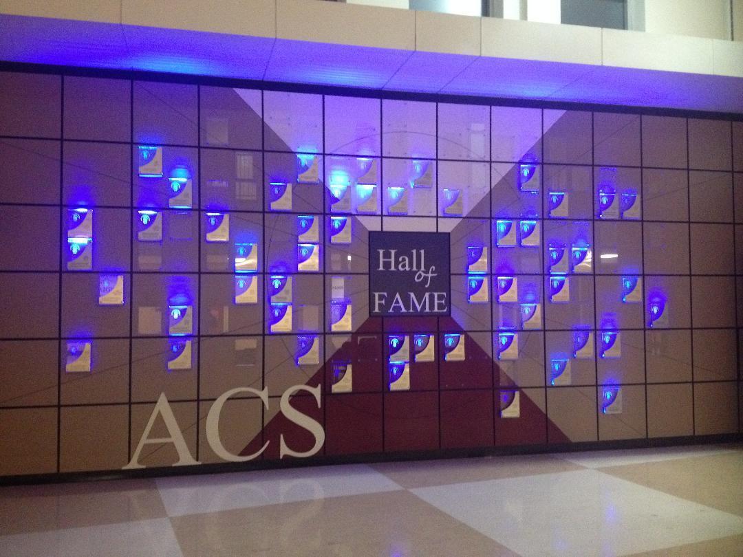 Hall of Fame Wall lit up