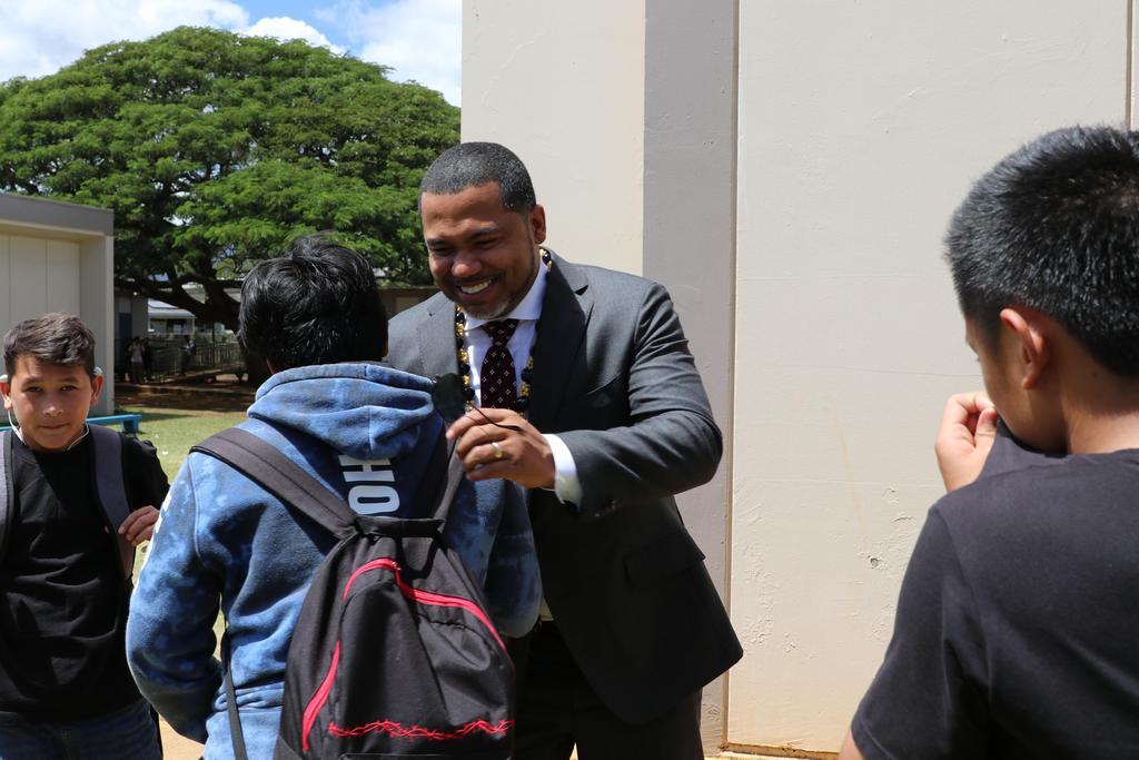 M. Scott meeting the student body