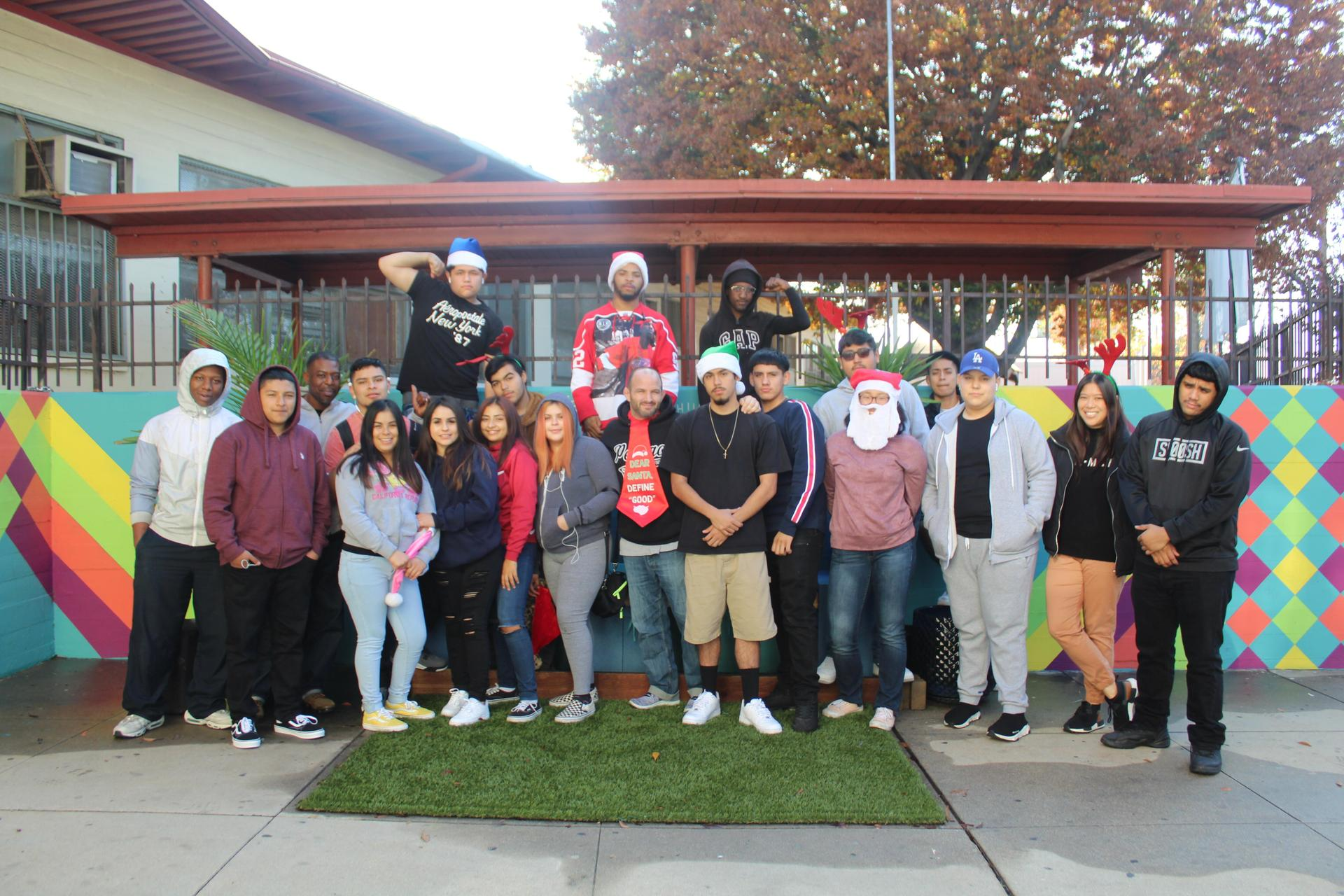 Avalon students pose for a Christmas photo in 2019