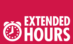 Clock with the words Extended Hours