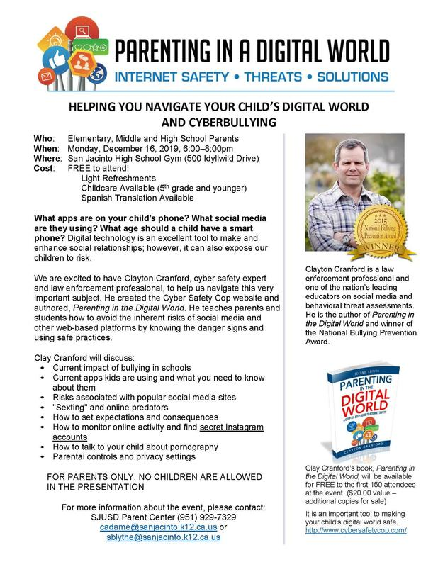 Flyer for Parent Workshop on Cyberbullying