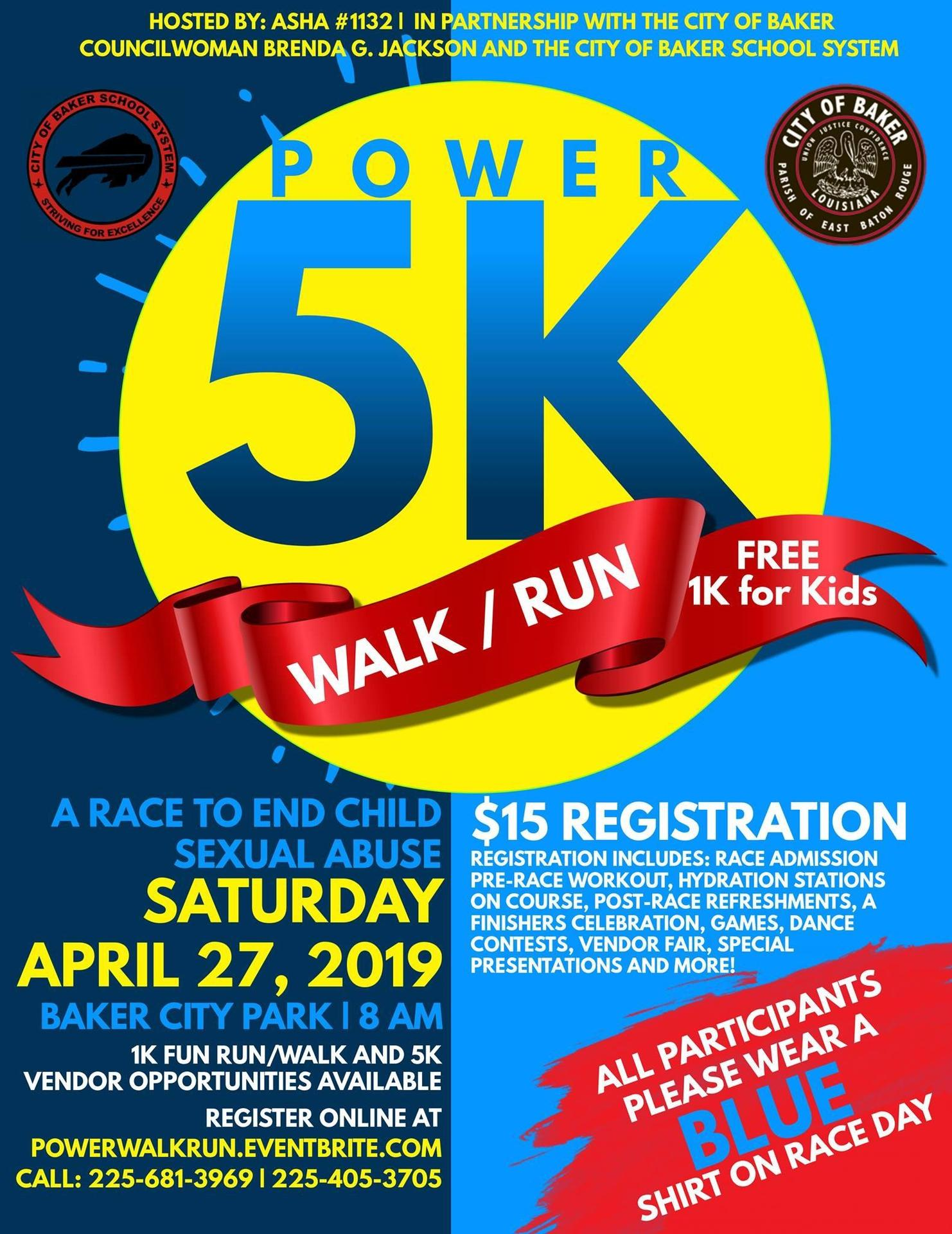 a graphic promoting the 2019 Power 5K Walk/Run