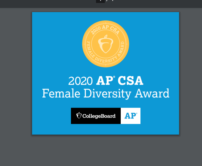 2020 AP CSA Female Diversity Award logo -- Blue background with gold circle featuring an acorn