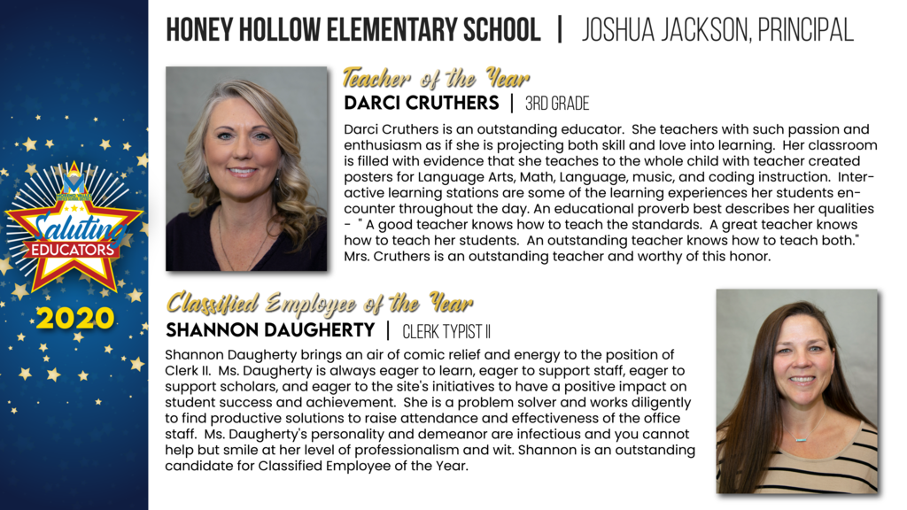 Honey Hallow Elementary Employees of the Year