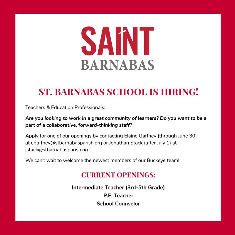 St. Barnabas is Hiring! Featured Photo