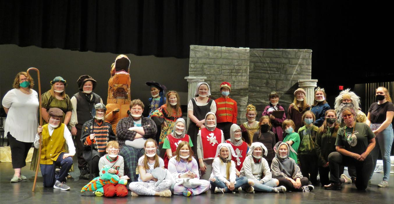 Cast and crew of the spring TKMS play gather for a photo.