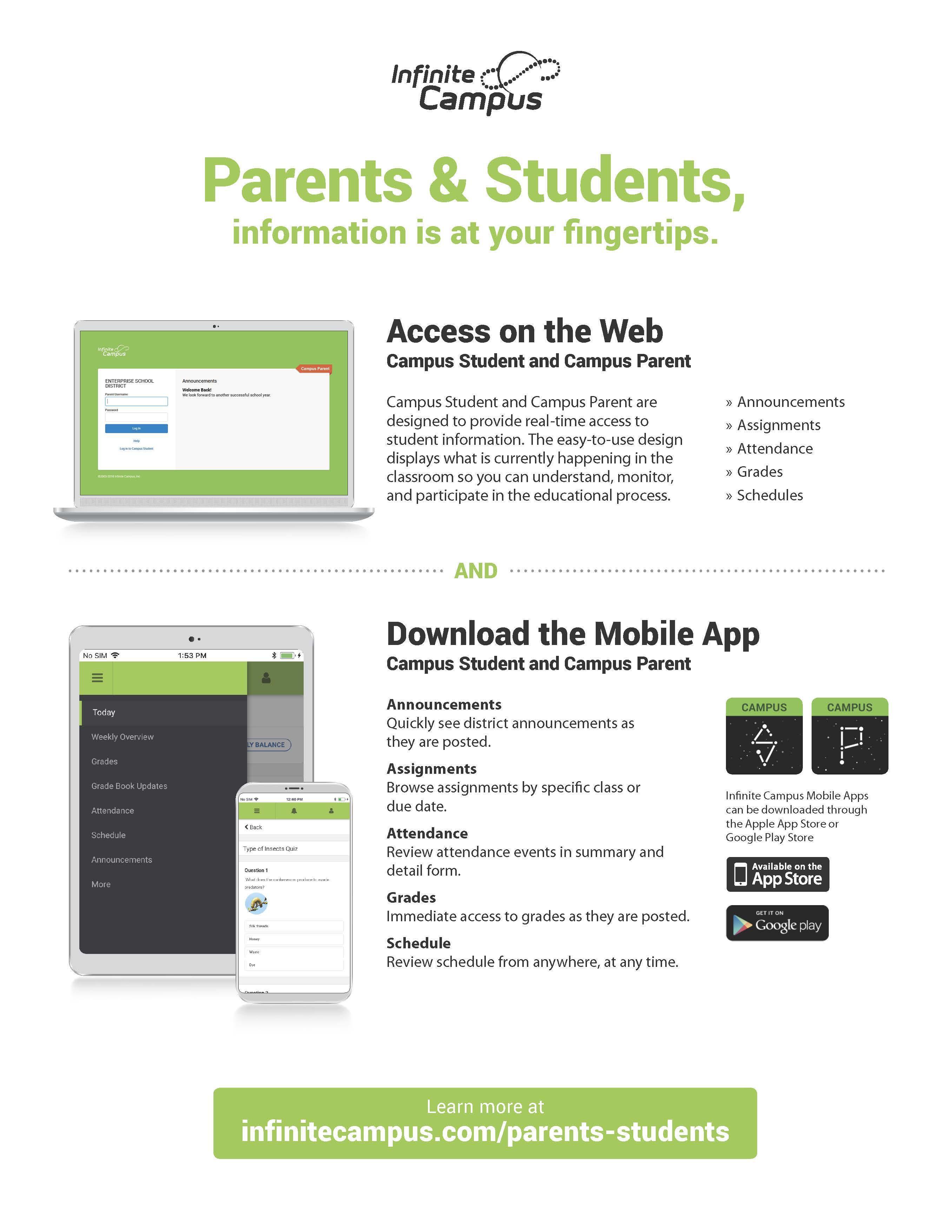 Parent Portal Instructions for Infinite Campus – Parents