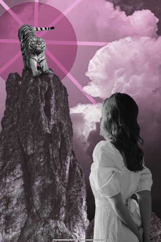 Girl looking up at lion pink art