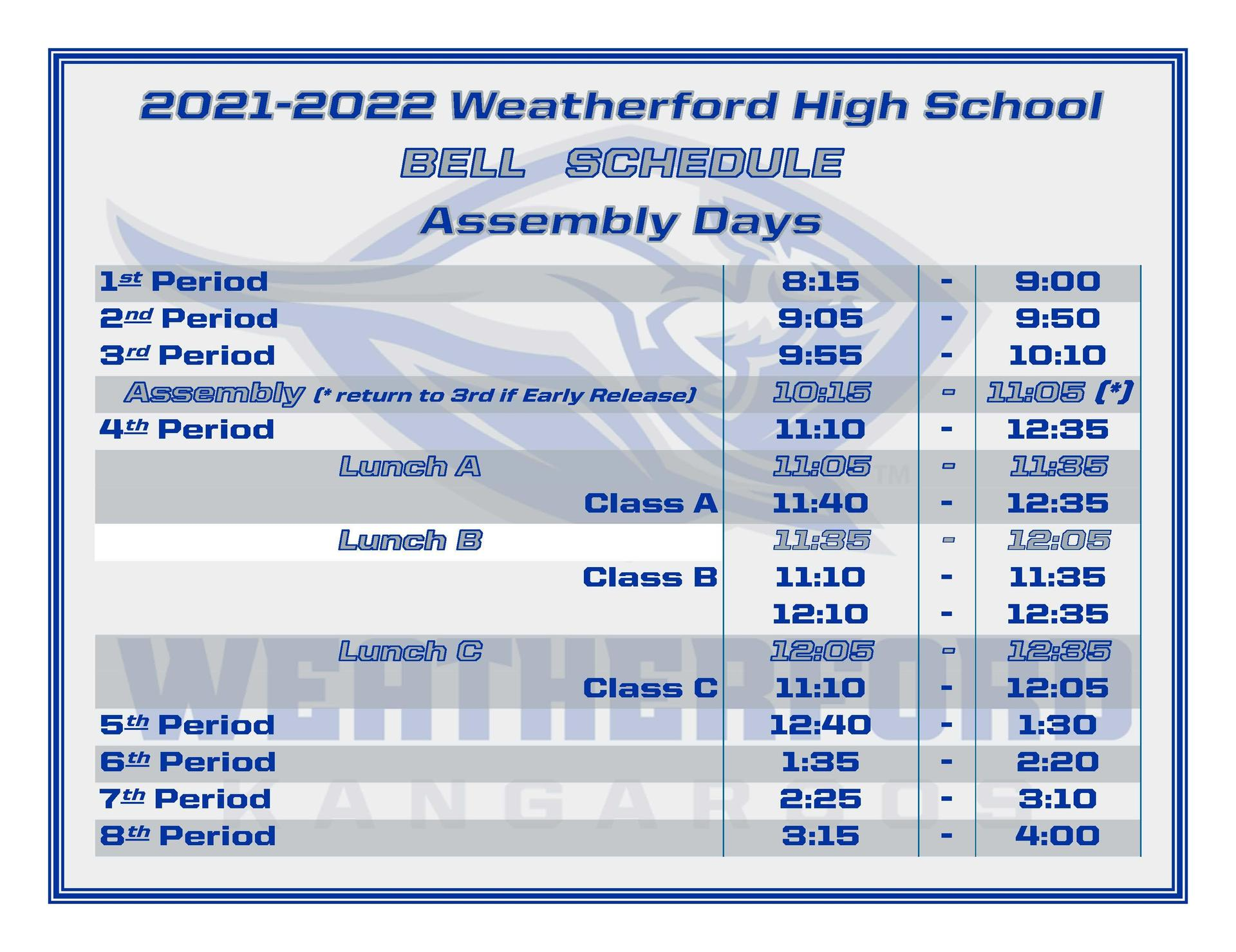 WHS Assembly Day Bell Schedule