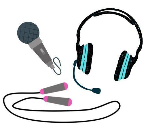 Picture of headphones with a mic, a jump rope, and a microphone