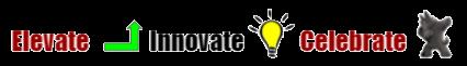 Image of school year theme elovate (up arrow, innovate light bulb, celebrate dancing scotty dog).