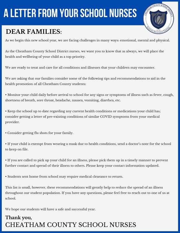 A letter from our school nurses