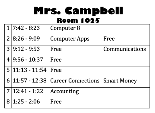 Mrs. C's schedule 2019