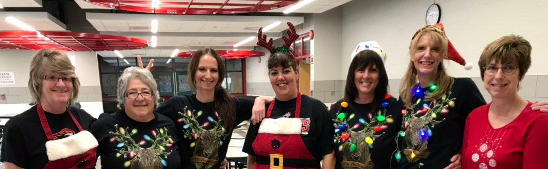 Cafeteria Staff dressed for Christmas