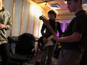 Students recording music