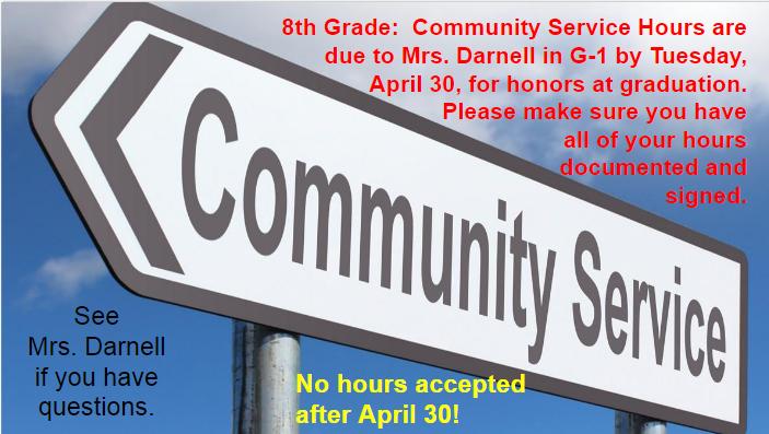 Community Service Hours Due