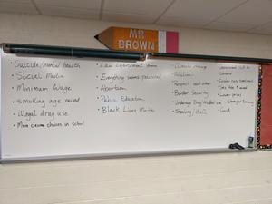white board showing list of issues students thought of