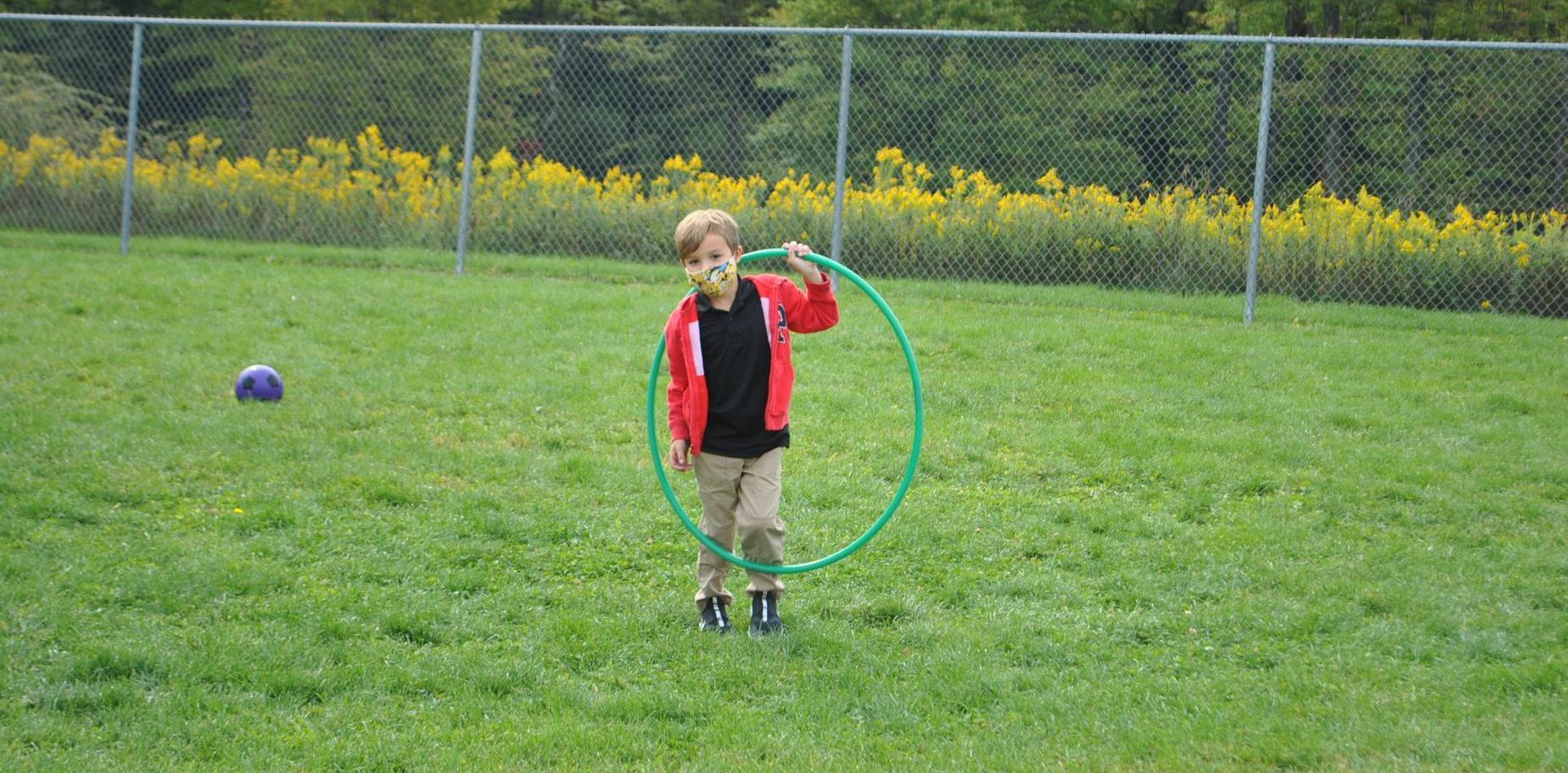 student playing at recess