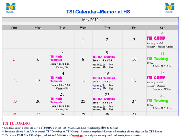 TSI Test Dates - May 2019