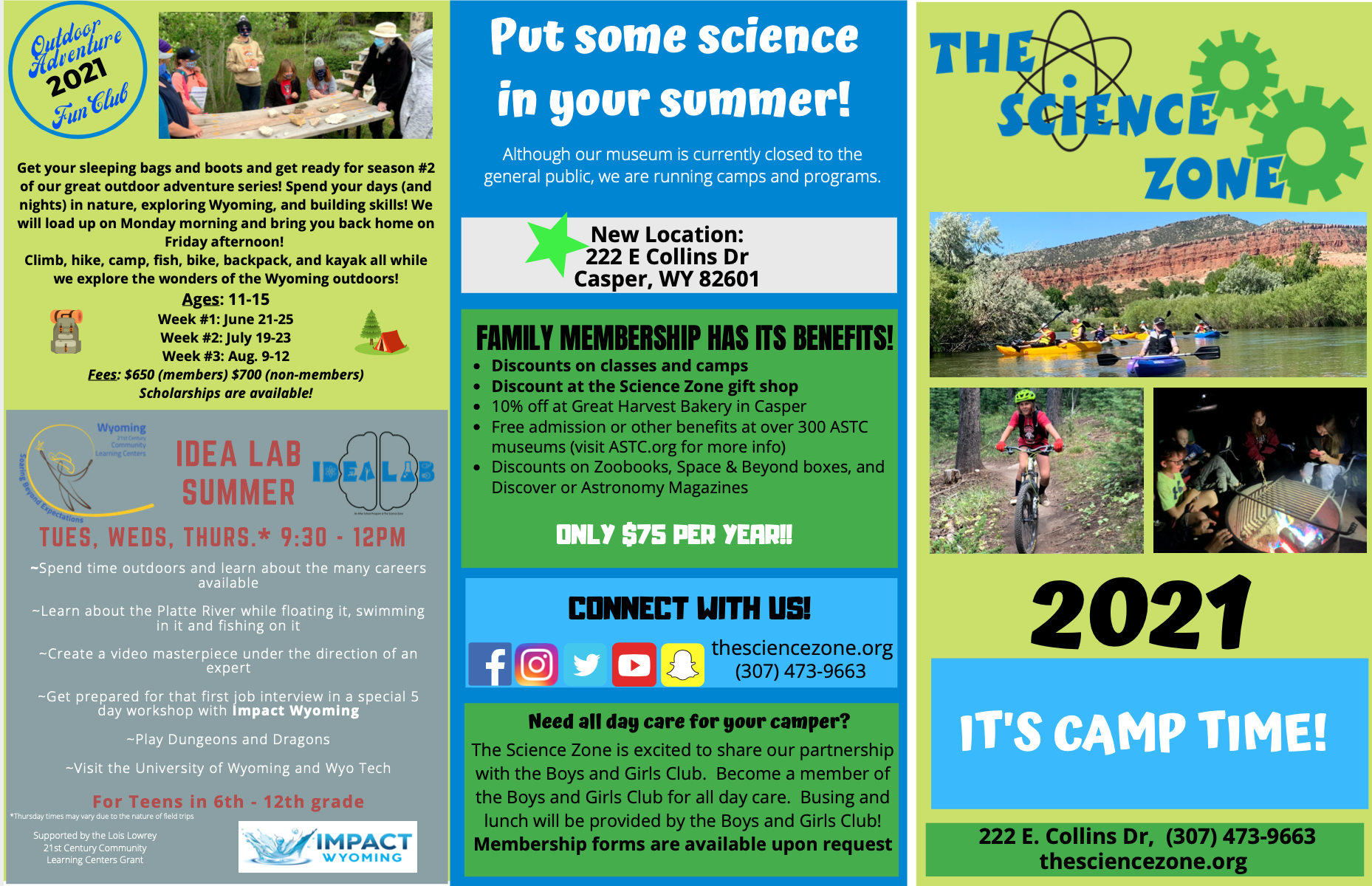Science Zone Summer Camp Flyer