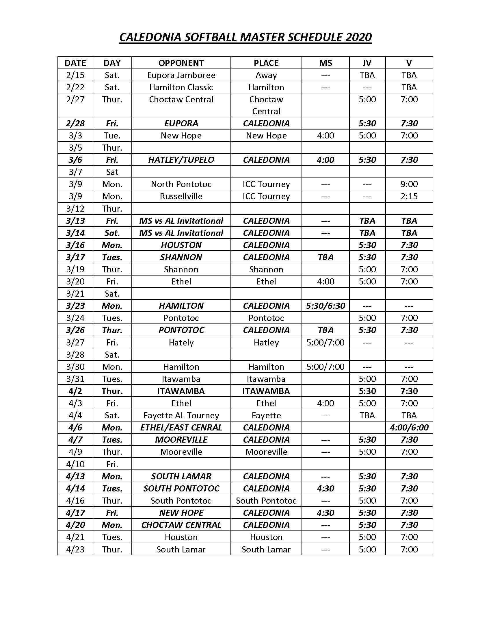 2020 Fast Pitch Schedule