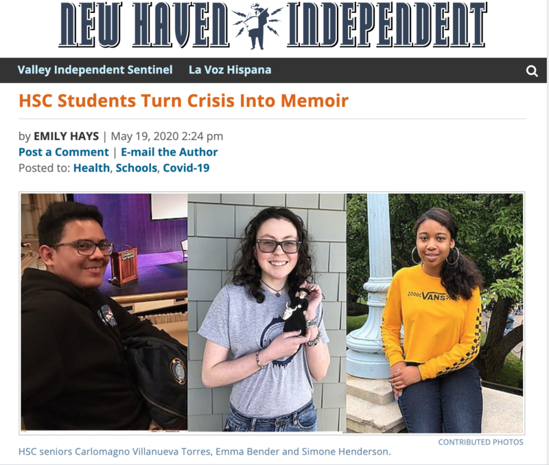 Screenshot of article from New Haven Independent featuring three HSC students