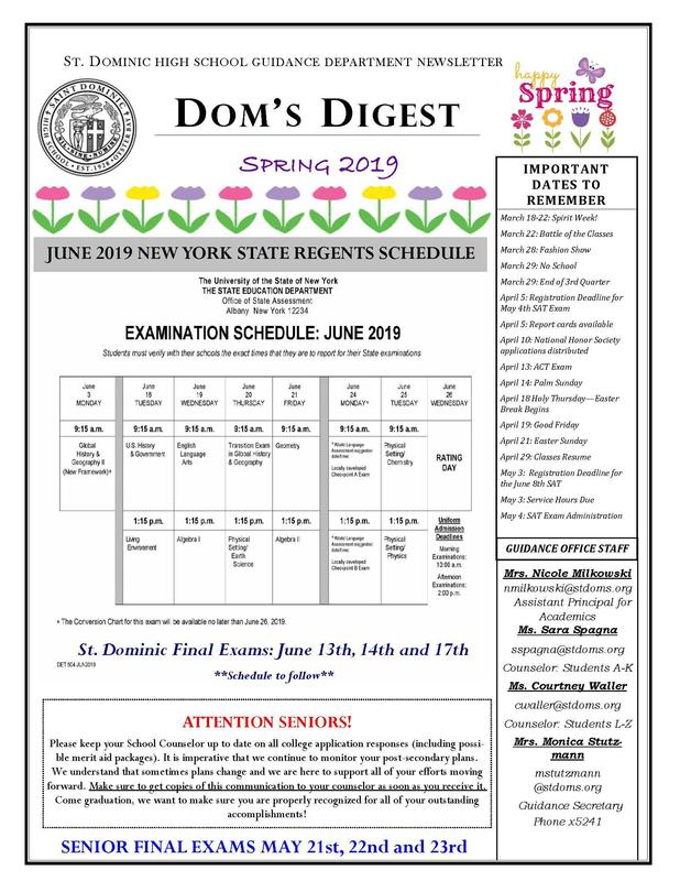 Dom's Digest - Guidance Department Newsletter (Spring 2019 Edition) Featured Photo