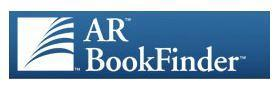 blue background with white text, AR BookFinder
