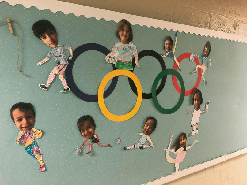 aHWIS Immersion Summer Camp HudsonWay Olympians' Olympic Mural Board