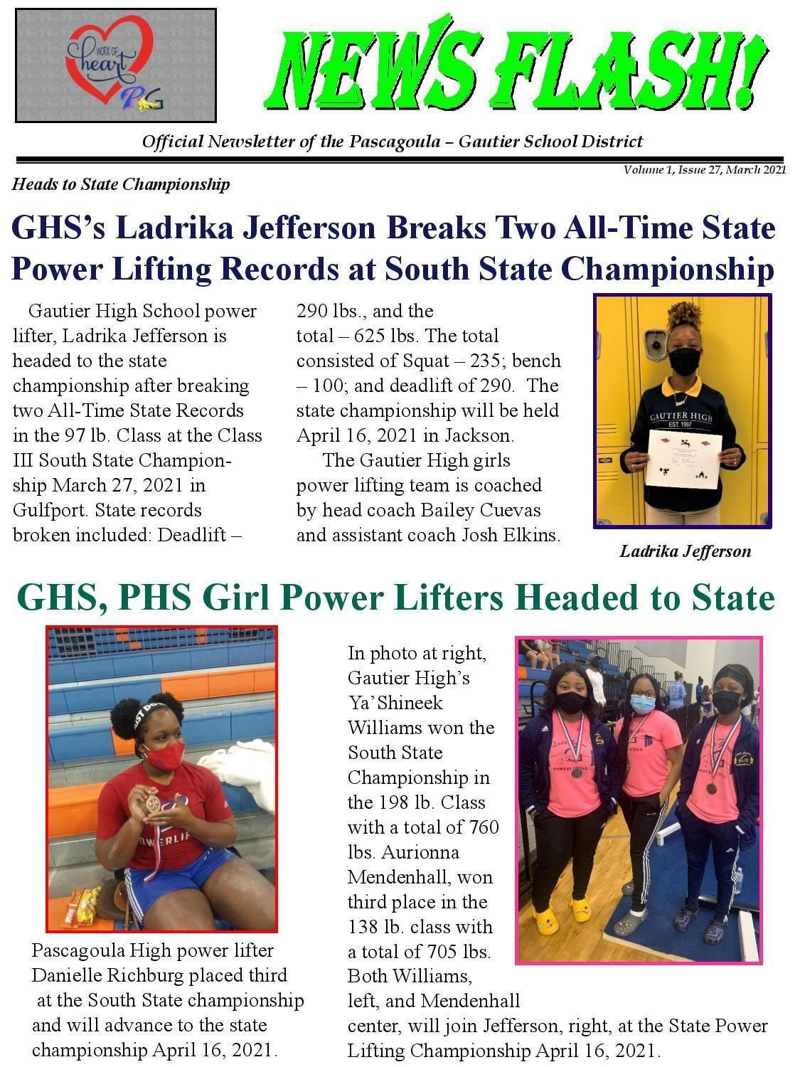 GHS Ladrika Jefferson Breaks Two All Time State Power Lifting Records