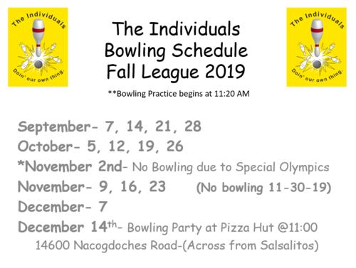 Fall Bowling Schedule 2019