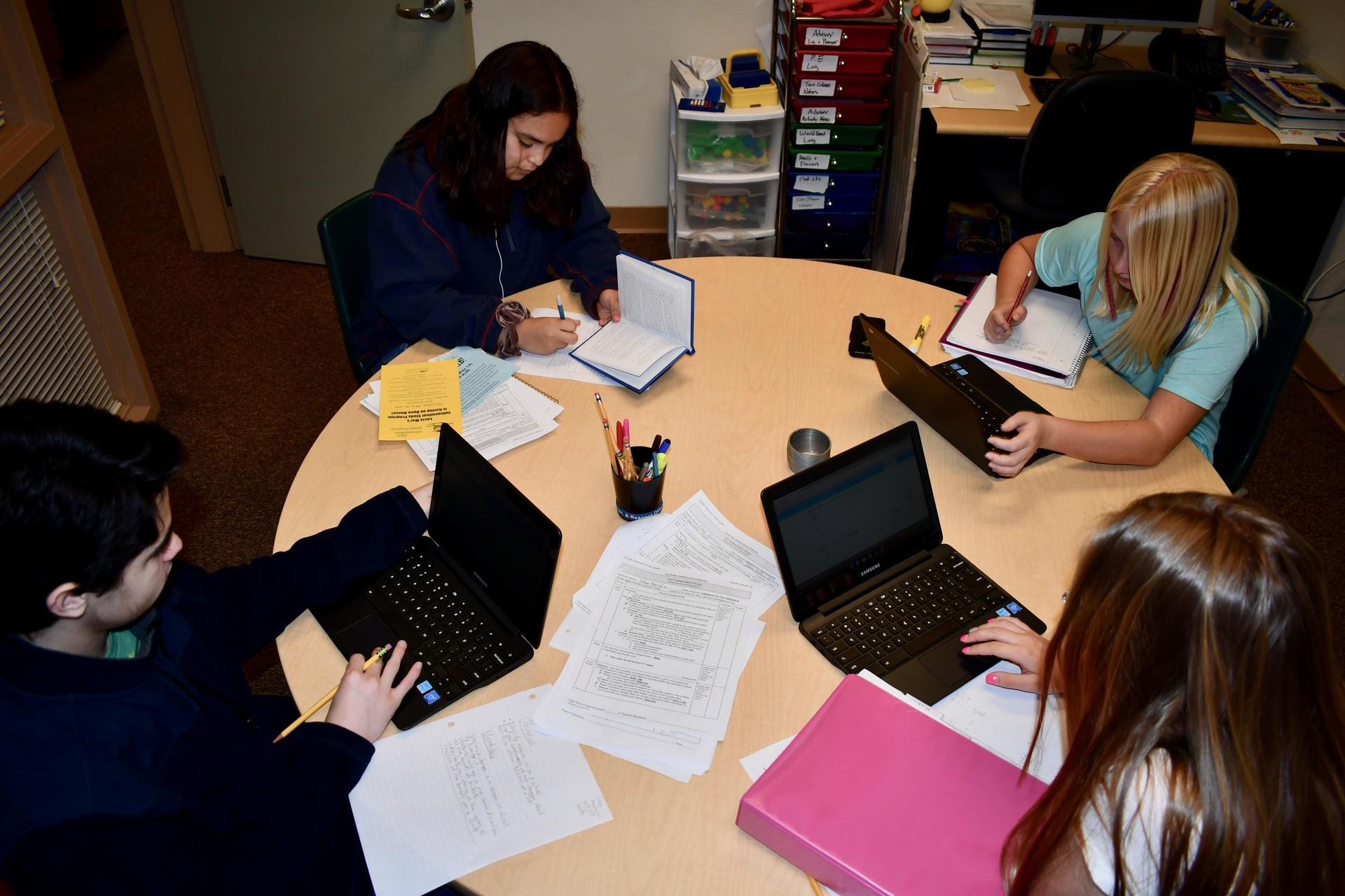 students working at a table