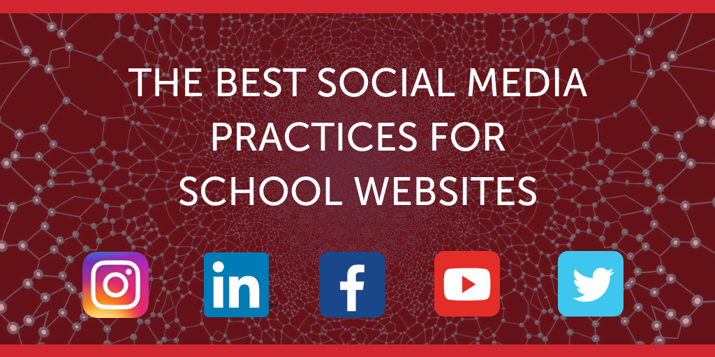 Blog image header: The Best Social Media Practices for School Websites with social media icons displayed