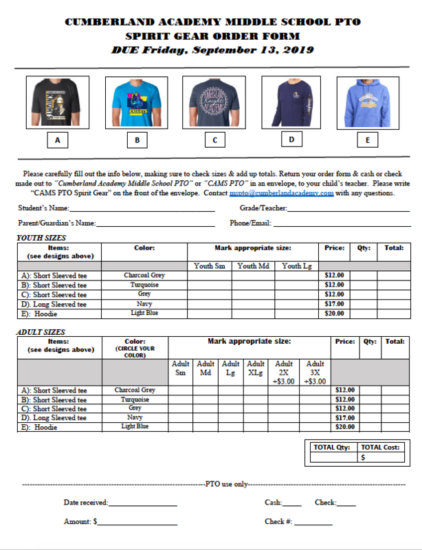 CAMS PTO Spirit Gear Order Form Featured Photo