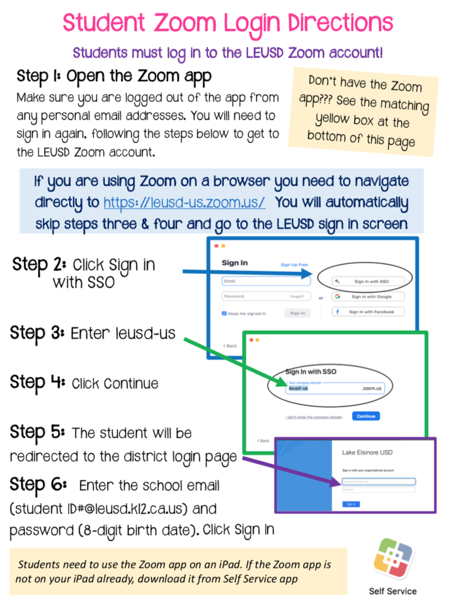 Zoom Student Login Directions Screenshot