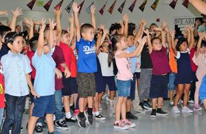 Tracy Elementary students in transitional kindergarten through first-grade danced alongside ABC Family and Disney Channel stars on Aug. 20 during the Baby2Baby and Disney backpack giveaway.