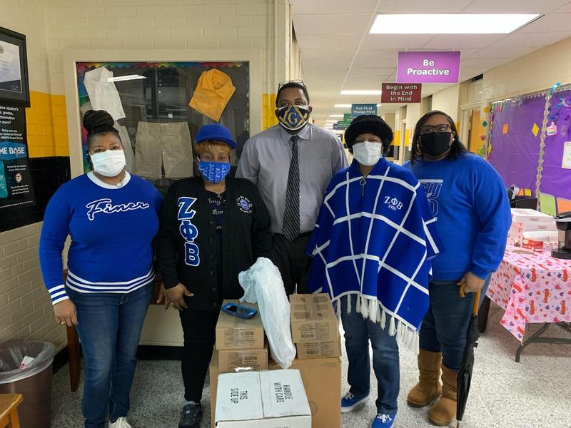 Zeta Phi Beta Sorority donate covid safety items to DSJ