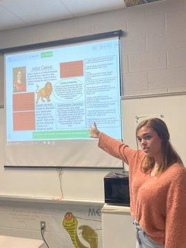 Students are working RKID3 analyze how complex characters...impact meaning -Julius Caesar whiteboard presentation day Mrs. Boyd English 2 !