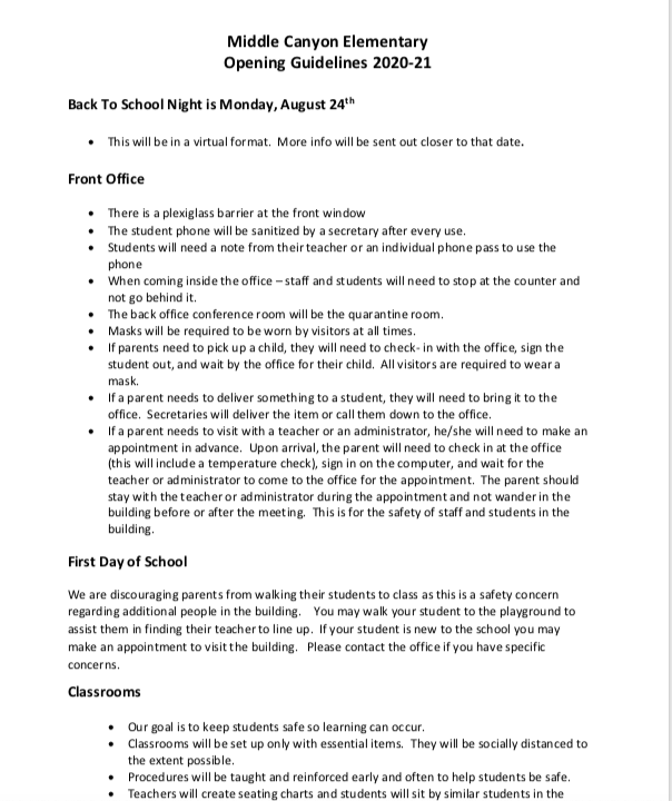 Middle Canyon Elementary Reopening Guidelines 2020-2021 Thumbnail Image