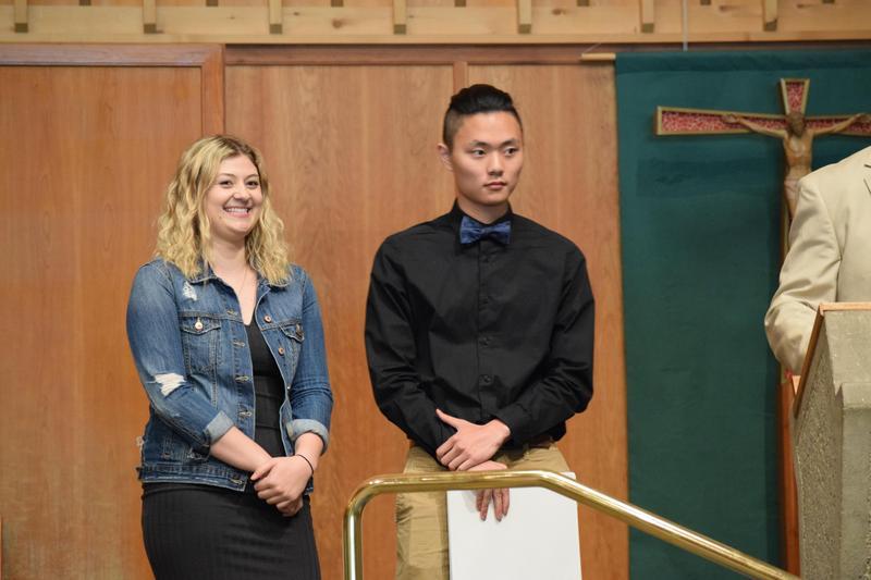 students at Mass