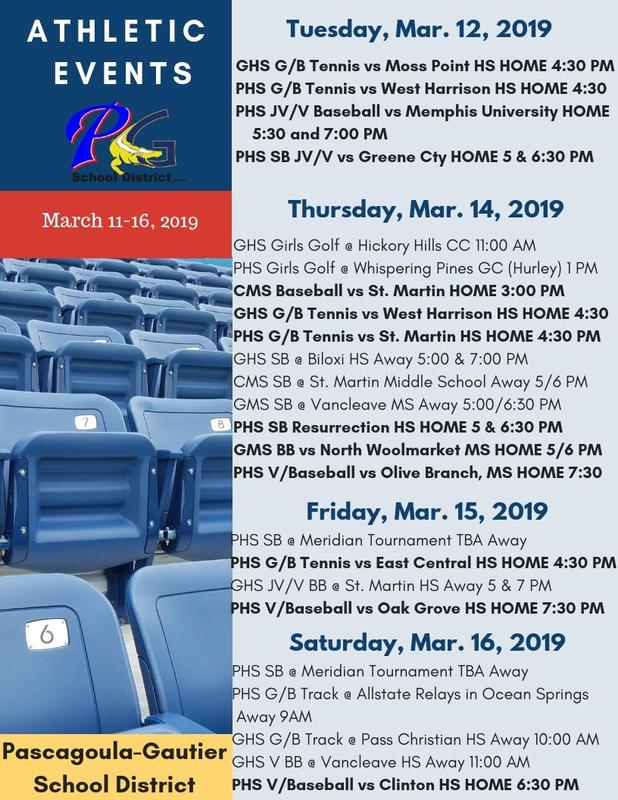Athletic Events for Week of March 12-16, 2019