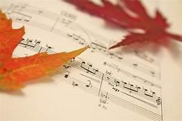 Fall leaves and music sheet