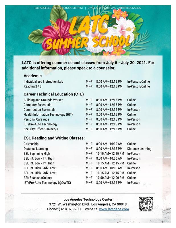 2021 Summer School Courses