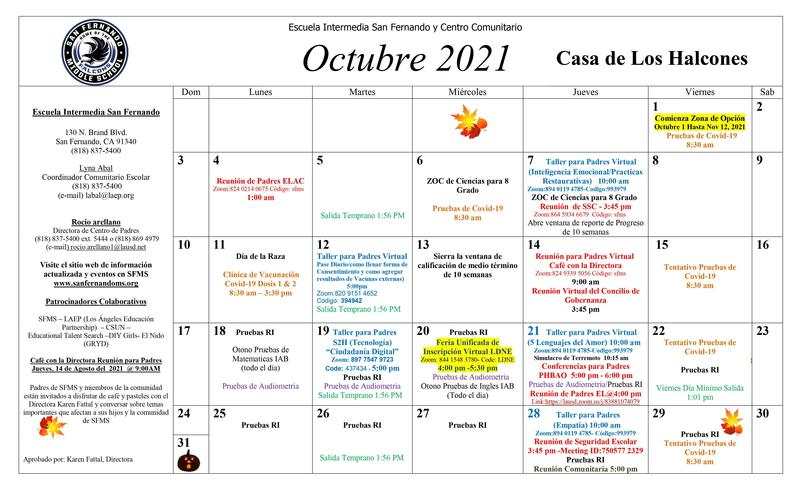 Calendario de eventos de octubre del Centro para padres Featured Photo