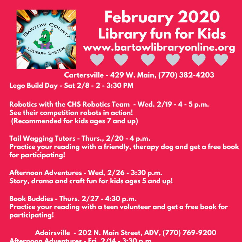 Kids Events at the BARTOW COUNTY LIBRARY! Featured Photo
