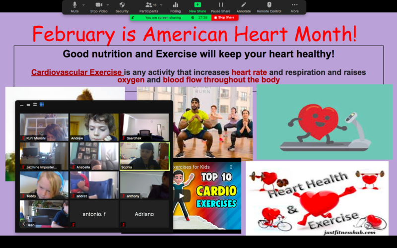 February is American Heart Month slide and zoom class