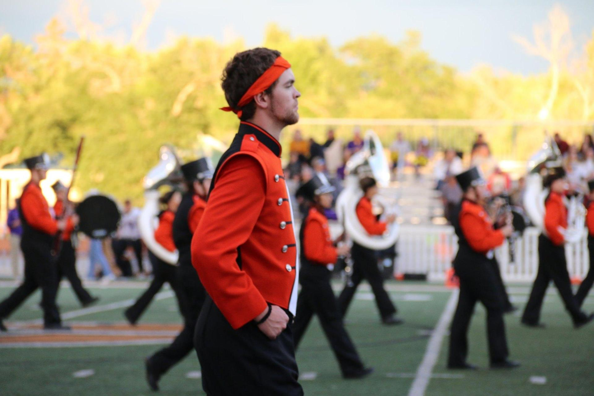 Boy marching in marching band